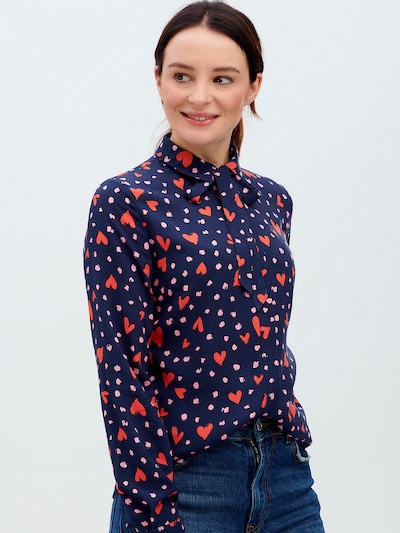 Sugarhill Brighton Blouse 'Catrina' in Navy / Pink / Red / Black, View model