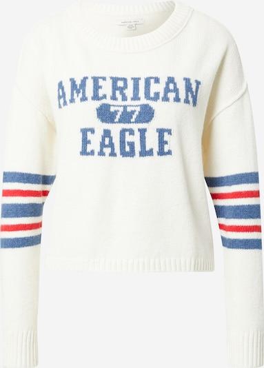 American Eagle Tröja i kräm / rökblå / röd: Sedd framifrån