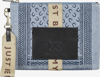 CODELLO Logo-Clutch aus Canvas in hellblau, Produktansicht