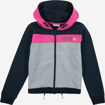 NAME IT Sweatjacke 'Natteli' in dunkelblau / graumeliert / pink, Produktansicht