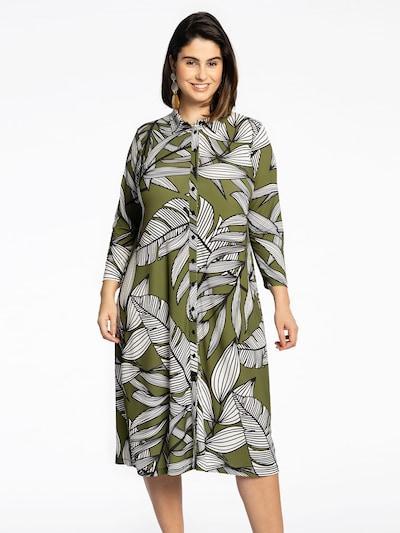 Yoek Kleid ' Batik Leave ' in grün / schwarz / weiß, Modelansicht