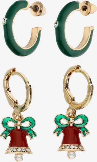 Six Earrings in Gold / Green / Red / Pearl white, Item view