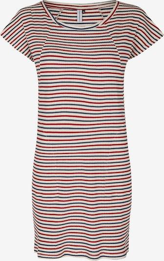 Cleptomanicx Kleid 'Rib' in taubenblau / kirschrot / weiß, Produktansicht