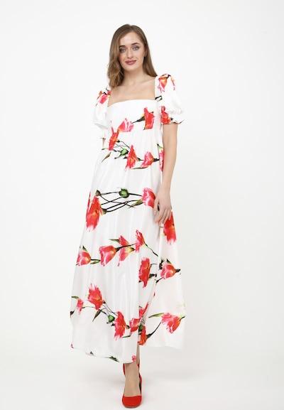 Madam-T Kleid 'Amoressa' in grün / rot / weiß, Modelansicht