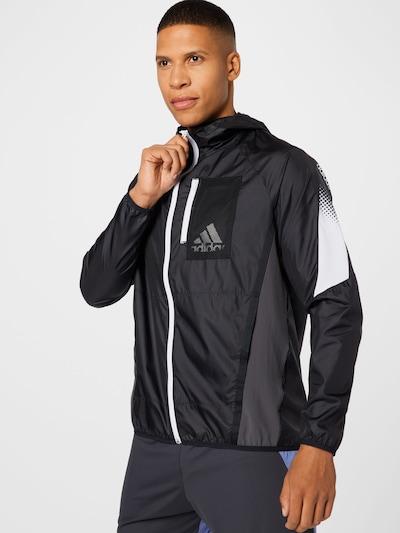 ADIDAS PERFORMANCE Sportjacke 'Seaso' in schwarz / weiß: Frontalansicht
