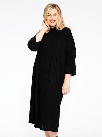 Yoek Knitted dress 'Rib' in Black