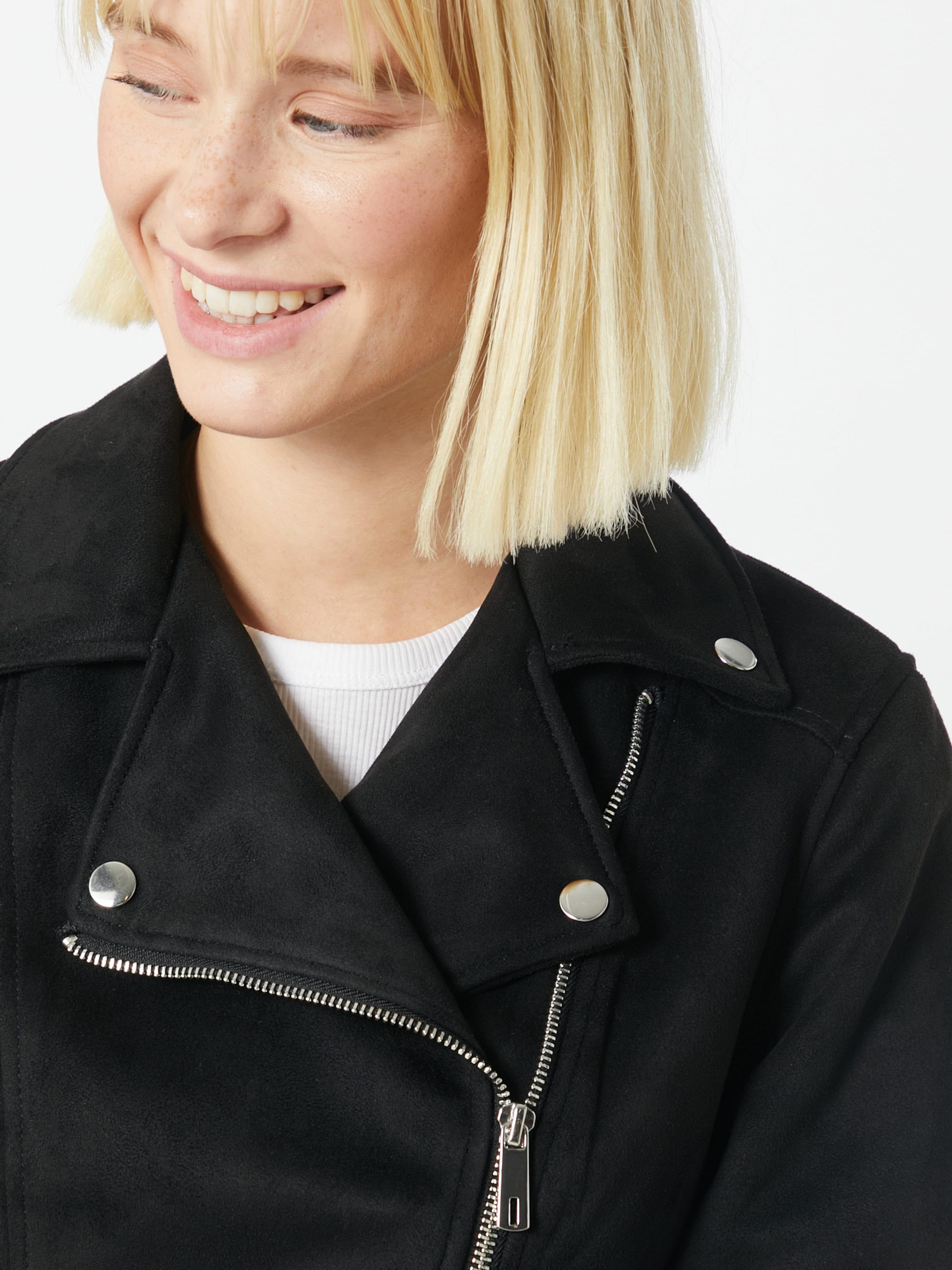 NEW LOOK Övergångsjacka 'POPPY SUEDETTE BIKER' i svart