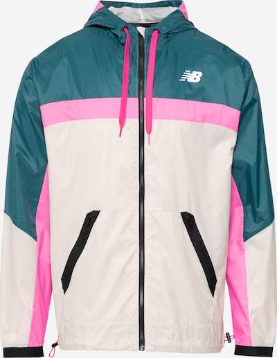 new balance Sportjacke in beige / dunkelgrün / pink, Produktansicht