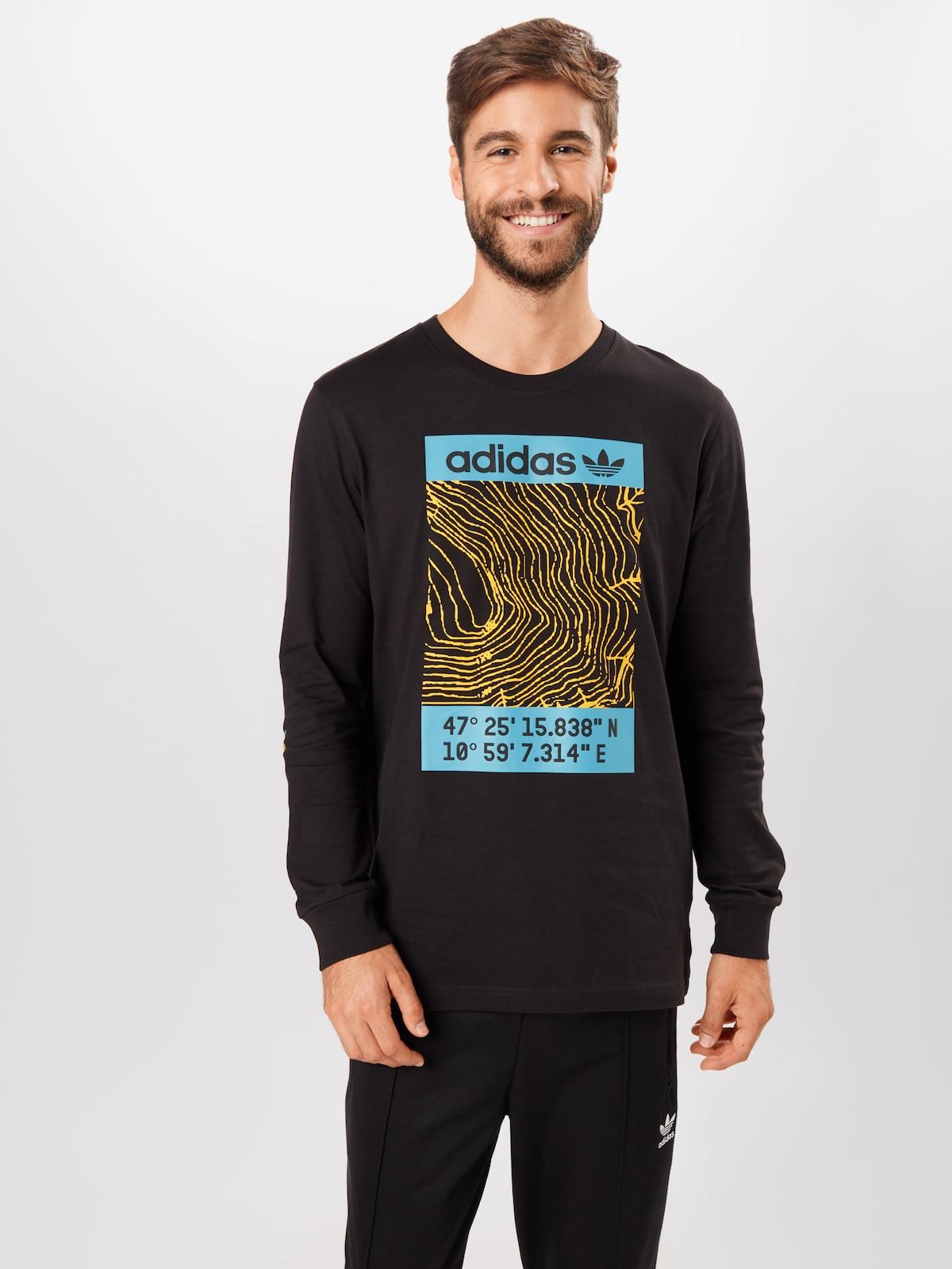 Kleding voor Heren ADIDAS ORIGINALS Shirt 'Adventure' in Lichtblauw / Geel / Zwart