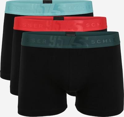 SCHIESSER Boxershorts in petrol / mint / rot / schwarz, Produktansicht