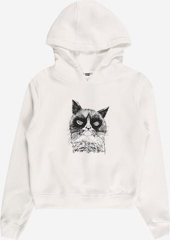 Mister Tee Collegepaita 'Unhappy Cat' värissä valkoinen
