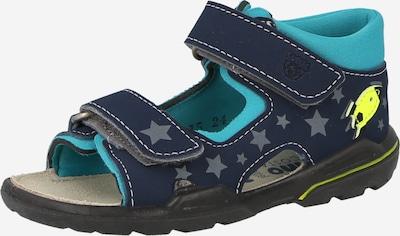 Pepino Open schoenen 'Franky' in de kleur Turquoise / Donkerblauw / Grijs / Neongroen, Productweergave