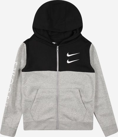 Nike Sportswear Sweatjacke 'SWOOSH' in graumeliert / schwarz / weiß: Frontalansicht
