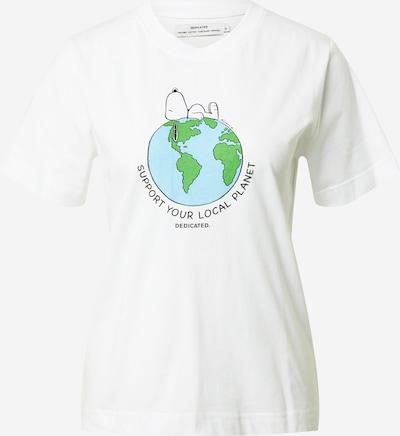 DEDICATED. T-shirt 'Mysen Snoopy Earth' en bleu clair / citron vert / noir / blanc, Vue avec produit