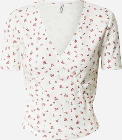 ONLY T-shirt 'FENJA' en pétrole / rose / rouge / blanc, Vue avec produit