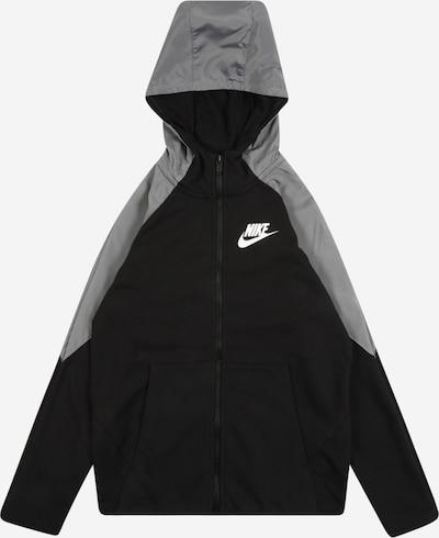 Nike Sportswear Bluza rozpinana w kolorze szary / czarny / białym: Widok z przodu