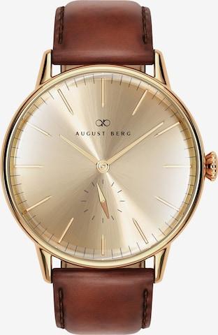 August Berg Analog Watch 'Serenity Shine Gold Eye Dark Brown Leather 40mm' in Brown