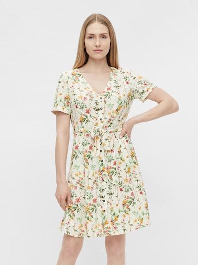 Rochie tip bluză 'OBJLORENA' OBJECT pe nisipiu / oliv / verde deschis / portocaliu / roz pitaya, Vizualizare model