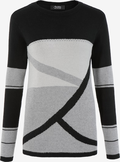 Aniston SELECTED Pullover in grau / schwarz / weiß, Produktansicht