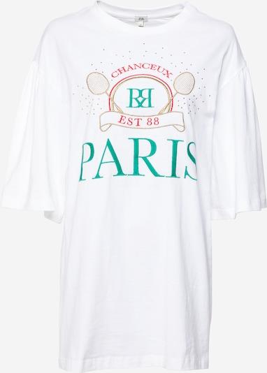 River Island T-Shirt 'Paris' in smaragd / grenadine / weiß, Produktansicht