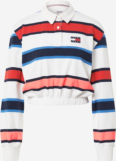 Tommy Jeans Shirt 'RUGBY' in de kleur Navy / Royal blue/koningsblauw / Koraal / Rood / Wit, Productweergave