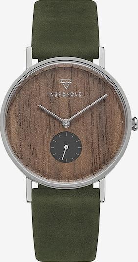 Kerbholz Uhr in braun / oliv / silber, Produktansicht