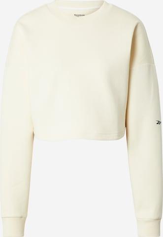Reebok Sport Спортен блузон с качулка в бяло