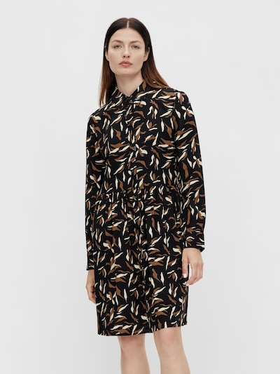 OBJECT Kleid in braun / schwarz / weiß, Modelansicht