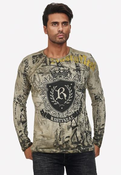 Rusty Neal Longshirt mit großem Print in khaki: Frontalansicht