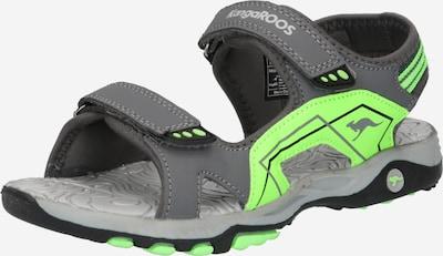 KangaROOS Chaussures ouvertes 'Everest' en pierre / gris clair / vert fluo, Vue avec produit