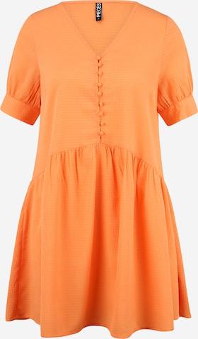 Pieces Petite Рокля тип риза 'GENEVA' в оранжево
