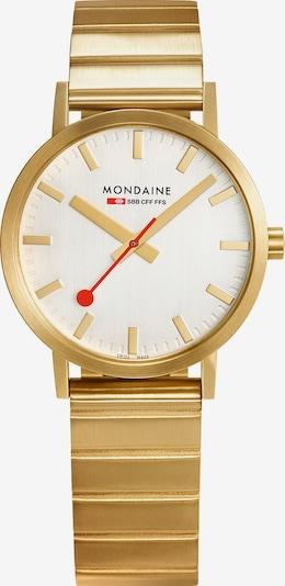 Mondaine Uhr in gold / rot / weiß, Produktansicht