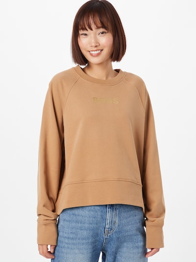 BOSS Casual Sweatshirt 'Elia' in Brown / Gold: Frontal view