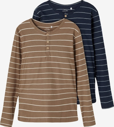 NAME IT T-Shirt 'Valentin' en bleu foncé / noisette / blanc naturel, Vue avec produit