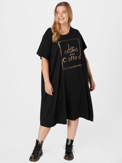 Zizzi Kleid 'MALBA' in gold / schwarz, Modelansicht