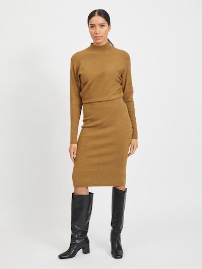 VILA Robes en maille 'VIELASTA' en camel, Vue avec modèle