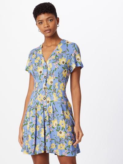FRENCH CONNECTION Kleid 'ELOISE' in rauchblau / braun / gelb / grün / rosa, Modelansicht