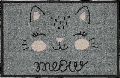 """MD-Entree Fußmatte """"Meow"""" in grau / schwarz / weiß, Produktansicht"""