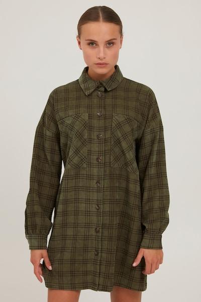 PULZ Jeans Longbluse 'PZLAVINDA' in grün / khaki / dunkelgrün, Modelansicht