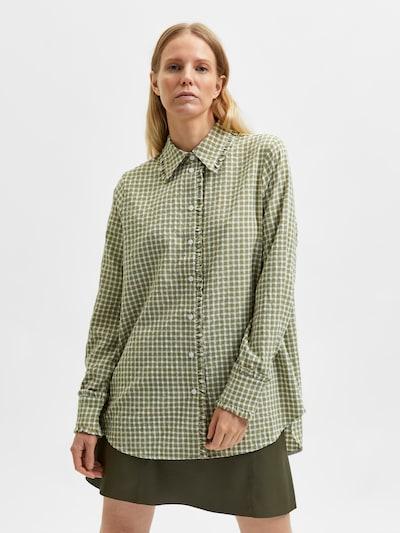 SELECTED FEMME Bluse 'Nelly' in creme / grün, Modelansicht