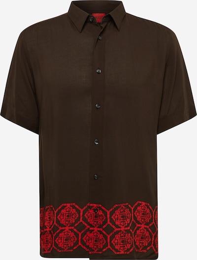 HUGO Hemd 'Ebor' in dunkelbraun / rot, Produktansicht