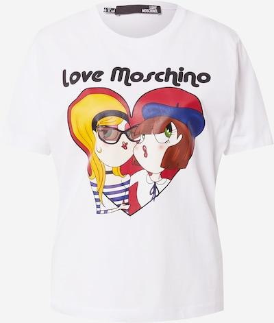 Tricou Love Moschino pe bleumarin / maro / galben / roșu merlot / alb, Vizualizare produs