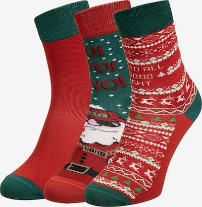 Urban Classics Sokken 'Santa' in de kleur Smaragd / Rosa / Merlot / Zwart / Wit, Productweergave