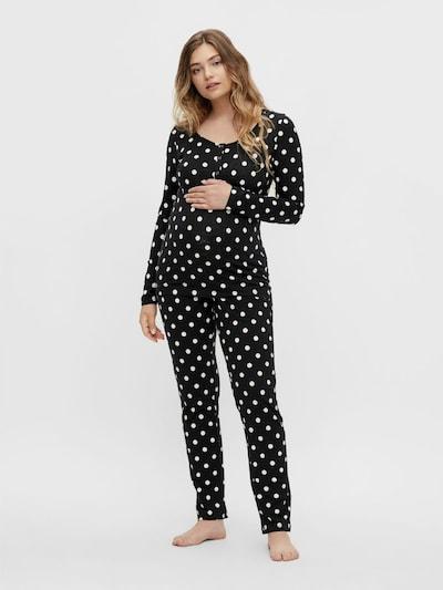 MAMALICIOUS Pyjama 'CHILL' en noir / blanc: Vue de face