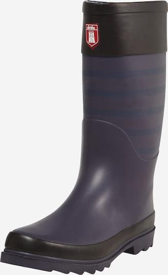 Derbe Stiefel in rauchblau / lila / schwarz, Produktansicht