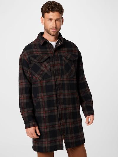 Demisezoninis paltas iš tigha, spalva – mokos spalva / šviesiai raudona / juoda, Modelio vaizdas