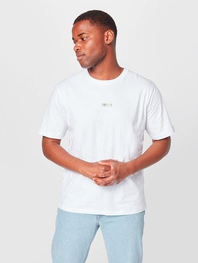 BOSS Casual T-Shirt 'TLove' en turquoise / jaune / violet foncé / orange / blanc cassé: Vue de face