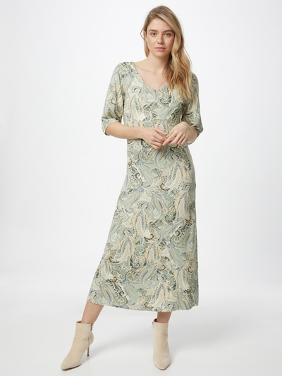 Cream Šaty - béžová / zelená / bílá, Model/ka