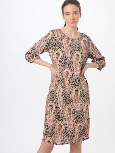 Soyaconcept Kleid 'OLGA' in dunkelbraun / goldgelb / koralle / schwarz / weiß, Modelansicht