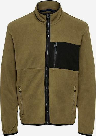Jachetă  fleece 'Davis' Only & Sons pe kaki / negru, Vizualizare produs